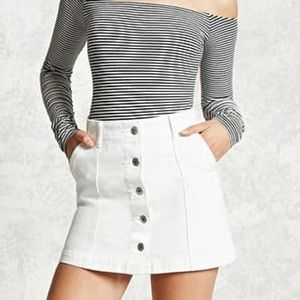 Mini White Button Skirt
